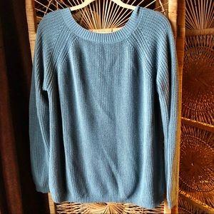 LULU'S Slate Blue Low Back Knit Sweater Medium